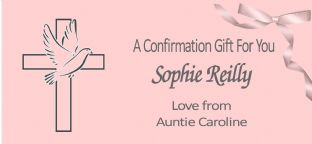 Confirmation Gift Wallet Pink Dove & Cross Design